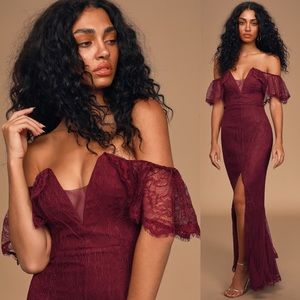 Lulus Caught in a Daydream Lace Maxi Dress NWT